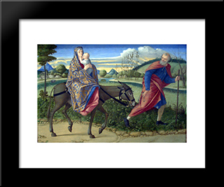 The Flight Into Egypt: Modern Black Framed Art Print by Vittore Carpaccio