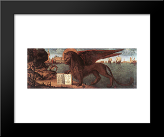The Lion Of St. Mark: Modern Black Framed Art Print by Vittore Carpaccio