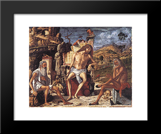 The Meditation On The Passion: Modern Black Framed Art Print by Vittore Carpaccio