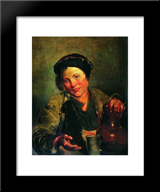A Boy Selling Brew: Modern Black Framed Art Print by Vladimir Makovsky