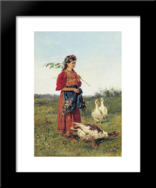 A Girl With Geese: Modern Black Framed Art Print by Vladimir Makovsky