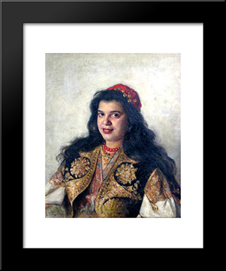 A Gypsy Lady: Modern Black Framed Art Print by Vladimir Makovsky