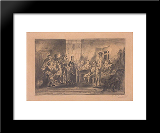 A Party: Modern Black Framed Art Print by Vladimir Makovsky