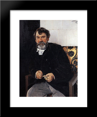 A Portrait Of E. S. Sorokin: Modern Black Framed Art Print by Vladimir Makovsky