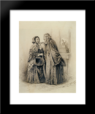 A Private Conversation: Modern Black Framed Art Print by Vladimir Makovsky