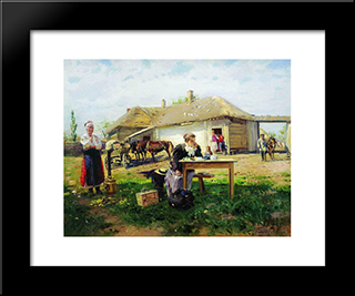 Arrival Of A School Mistress In The Countryside: Modern Black Framed Art Print by Vladimir Makovsky