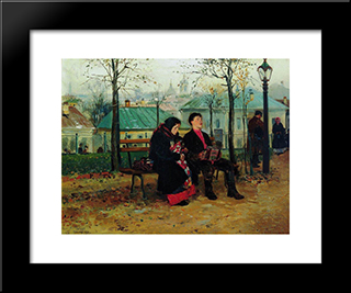 At The Boulevard: Modern Black Framed Art Print by Vladimir Makovsky