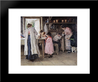 At The Kitchen: Modern Black Framed Art Print by Vladimir Makovsky
