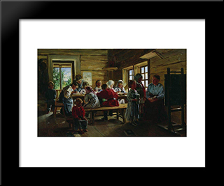At The Village School: Modern Black Framed Art Print by Vladimir Makovsky
