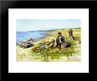At Volga: Modern Black Framed Art Print by Vladimir Makovsky