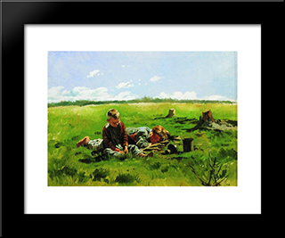 Boys In The Field: Modern Black Framed Art Print by Vladimir Makovsky