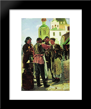 Brew Seller: Modern Black Framed Art Print by Vladimir Makovsky