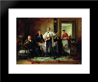 Buddies: Modern Black Framed Art Print by Vladimir Makovsky