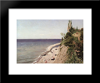 Crimean Seashore: Modern Black Framed Art Print by Vladimir Makovsky