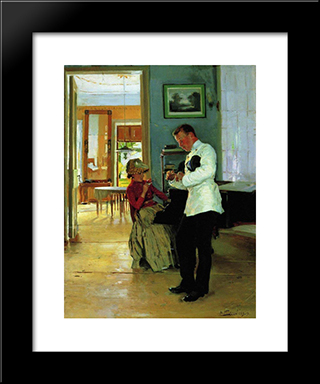 Declaration Of Love: Modern Black Framed Art Print by Vladimir Makovsky
