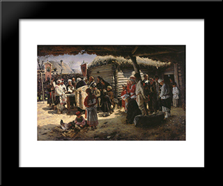 Easter Mass: Modern Black Framed Art Print by Vladimir Makovsky