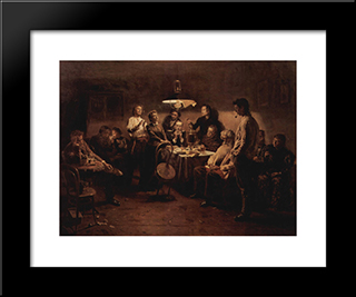Evening Company: Modern Black Framed Art Print by Vladimir Makovsky