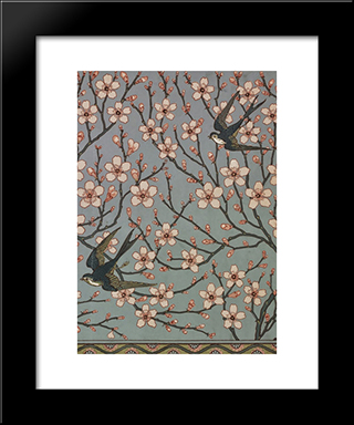 Almond Blossom And Swallow (Wallpaper Design): Modern Black Framed Art Print by Walter Crane