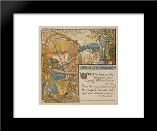 An Illustration Of The Fable Of Hercules And The Wagoner: Modern Black Framed Art Print by Walter Crane