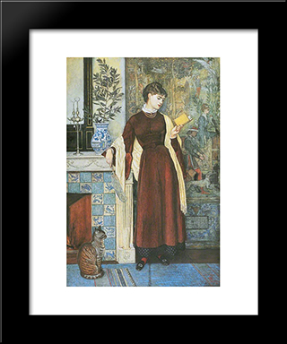 At Home. A Portrait: Modern Black Framed Art Print by Walter Crane