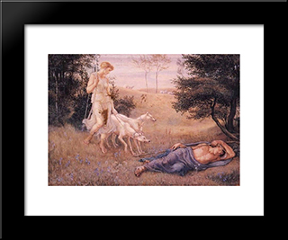 Diana And Endymion: Modern Black Framed Art Print by Walter Crane