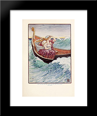 For Two Days And Two Nights The Boat Was And Hither And Thither: Modern Black Framed Art Print by Walter Crane