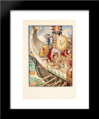 He Became A Target For Every Arrow: Modern Black Framed Art Print by Walter Crane