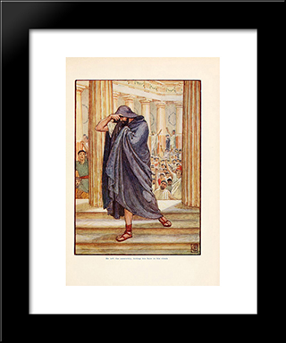 He Lefts Assembly, Hiding His Face In His Cloak: Modern Black Framed Art Print by Walter Crane