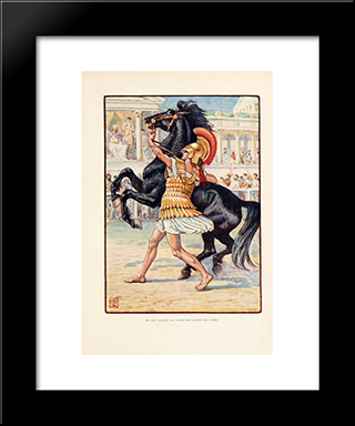 He Ran Toward The Horse And Seized The Bridle: Modern Black Framed Art Print by Walter Crane