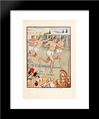 In The Earlist Times A Simple Foot-Race Was The Only Event: Modern Black Framed Art Print by Walter Crane
