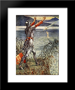 King Arthur Sir Bedivere Throwing Excalibur Into The Lake: Modern Black Framed Art Print by Walter Crane