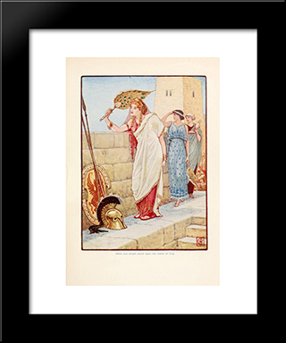 Often She Would Stand Upon The Walls Of Troy: Modern Black Framed Art Print by Walter Crane