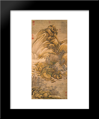 Clearing Of Rivers And Mountains After Snow: Modern Black Framed Art Print by Wang Wei