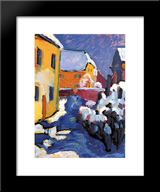 Cemetery And Vicarage In Kochel: Modern Black Framed Art Print by Wassily Kandinsky