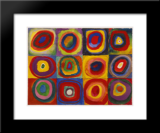 Color Study Squares With Concentric Circles: Modern Black Framed Art Print by Wassily Kandinsky
