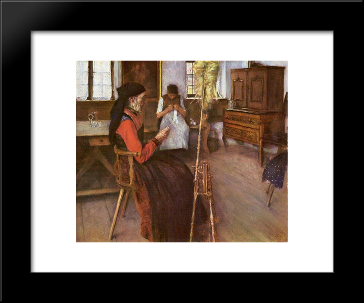 Die Spinnerin: Modern Black Framed Art Print by Wilhelm Leibl