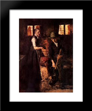 In Der Kuche (Kuche In Kutterling): Modern Black Framed Art Print by Wilhelm Leibl
