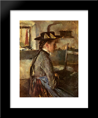 In Erwartung: Modern Black Framed Art Print by Wilhelm Leibl