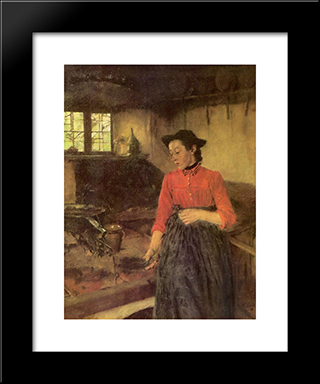 Madchen Am Herd: Modern Black Framed Art Print by Wilhelm Leibl