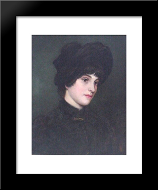 Portrait Of A Young Girl: Modern Black Framed Art Print by Wilhelm Leibl