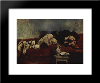 Sleeping Savoyard Boy: Modern Black Framed Art Print by Wilhelm Leibl