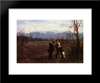 Wilhelm Leibl And Sperl On The Hunt: Modern Black Framed Art Print by Wilhelm Leibl