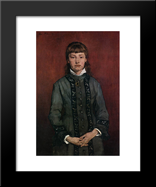 Girl With Folded Hands: Modern Black Framed Art Print by Wilhelm Trubner