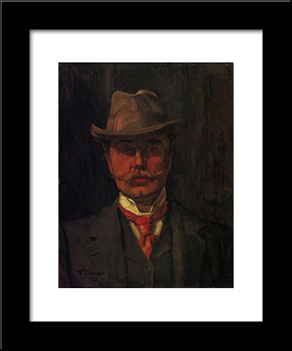 Self-Portrait: Modern Black Framed Art Print by Wilhelm Trubner