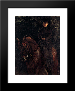 The Equestrienne - Ida Gorz: Modern Black Framed Art Print by Wilhelm Trubner