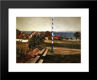 The Pub On Fraueninsel: Modern Black Framed Art Print by Wilhelm Trubner