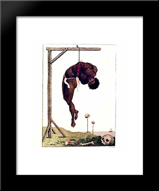 A Negro Hung Alive By The Ribs To A Gallows: Modern Black Framed Art Print by William Blake