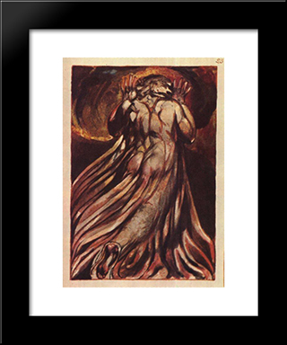 A White Haired Man In A Long, Pale Robe Who Flees From Us With His Hands Raised: Modern Black Framed Art Print by William Blake