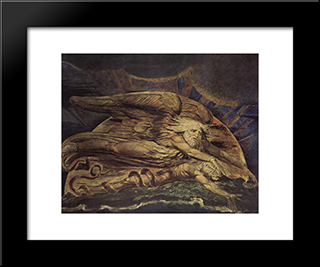 And Elohim Created Adam: Modern Black Framed Art Print by William Blake