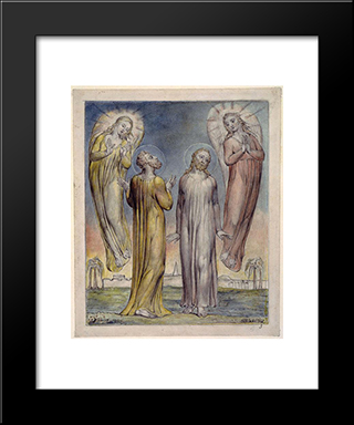 Andrew, Simon Peter Searching For Christ: Modern Black Framed Art Print by William Blake